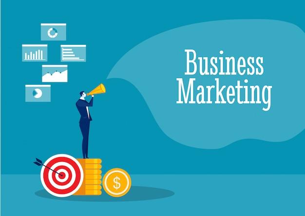 Empresario promover con concepto de marketing de referencia