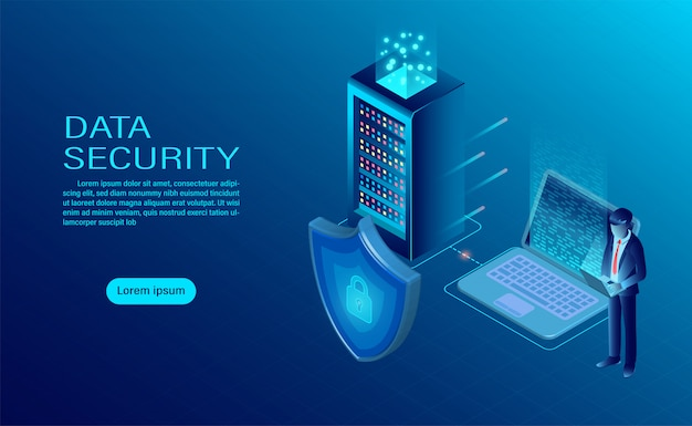 El empresario protege los datos y la confidencialidad en la computadora y el servidor. la protección de datos y la seguridad son confidenciales.