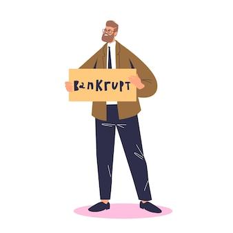 Empresario en quiebra. hombre de negocios pobre de dibujos animados con quiebra y quiebra financiera. concepto de problema de deuda y finanzas