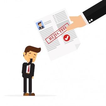 Empresario recibiendo rechazo por crédito