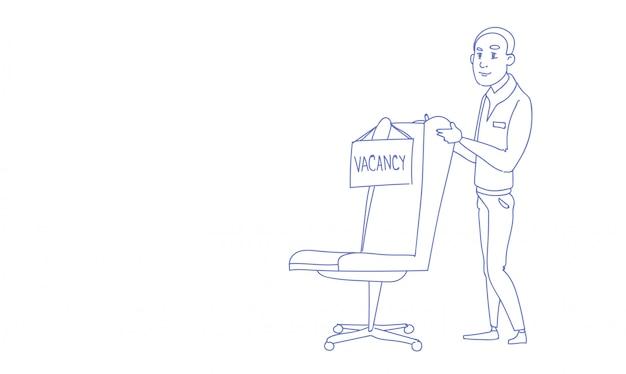 Empresario reclutamiento nuevo puesto de trabajo vacante bosquejo doodle horizontal