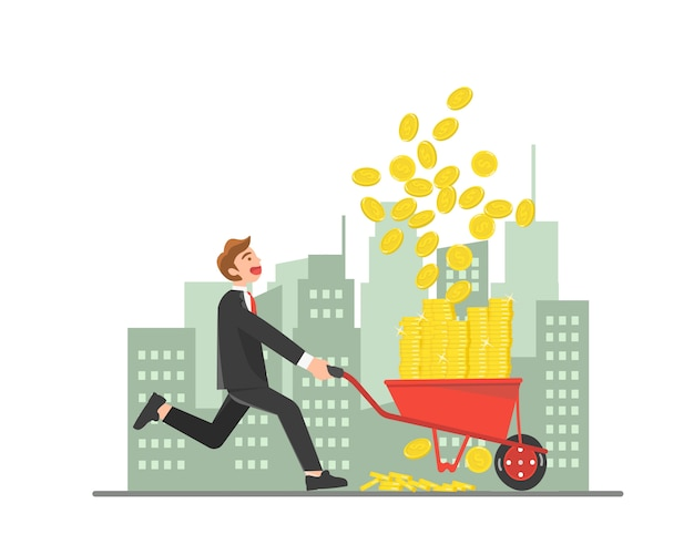 Empresario recogiendo monedas con carretilla