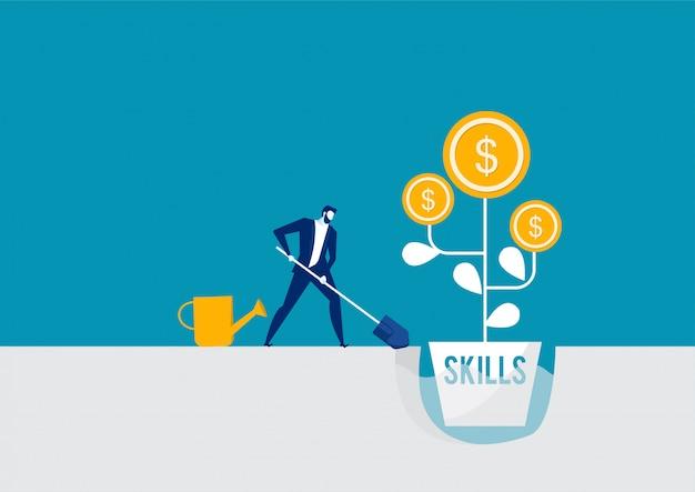 Empresario regando un árbol de dinero con habilidades rendimiento crecimiento trabajo cocept