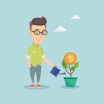 Empresario regando dinero flor.