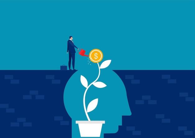 El empresario regar el dinero de las plantas piensa en el concepto de mentalidad de crecimiento