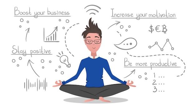 Empresario relajante en posición de loto con iconos de negocios de línea dibujados a mano