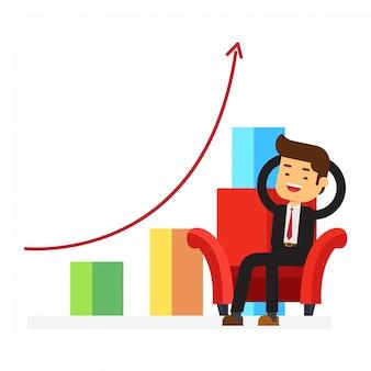 Empresario relajante en silla en fondo gráfico de negocios