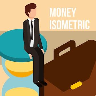 Empresario en reloj de arena y maletín dinero isométrico