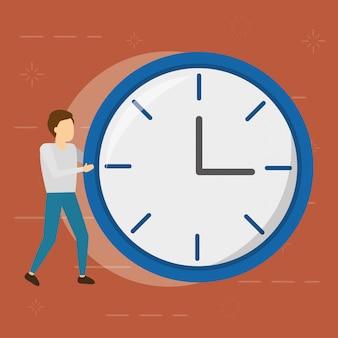 Empresario con reloj redondo, estilo plano