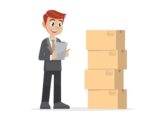 Empresario revisando paquetes.