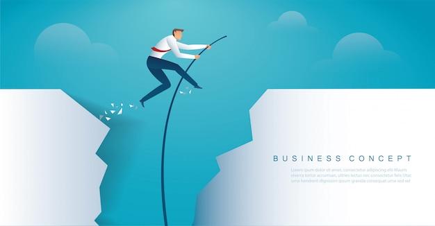 Empresario saltando con salto con pértiga