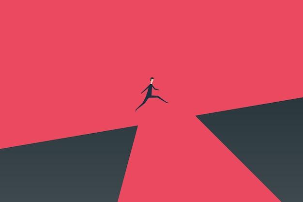 Empresario saltando sobre el concepto de vector de abismo.