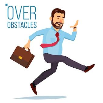 Empresario saltando sobre obstáculos