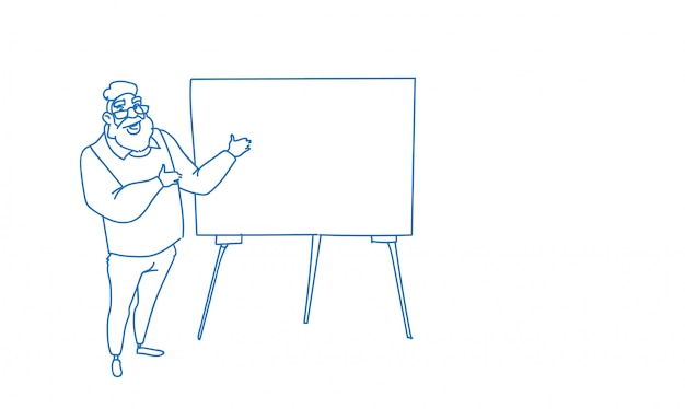 Empresario señalando vacío rotafolio seminario formación conferencia lluvia de ideas presentación bosquejo doodle
