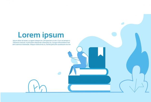 Empresario sentado en la pila de libros concepto de educación copia espacio horizontal ilustración plana