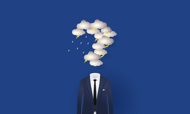 Empresario bajo el signo de interrogación en forma de nube de lluvia e iluminación, concepto inspiración empresarial, corte de papel