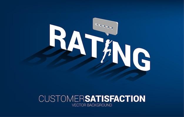 Empresario de silueta corriendo a estrella de calificación de cliente 3d en bocadillo.