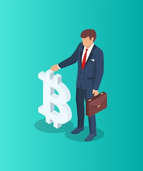Empresario con símbolo de bitcoin