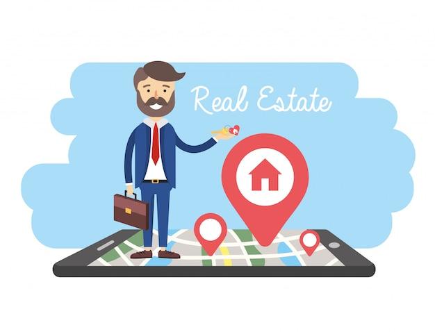 Empresario con smartphone y mapa de venta de propiedades.