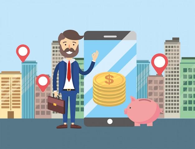 Empresario con smartphone y ubicación de venta de apartamentos