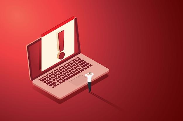 Empresario sorprendido por alertas de ataques de piratas informáticos y conexiones inseguras de seguridad web