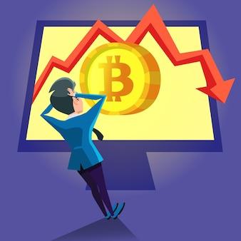 Empresario sorprendido mirando el gráfico de caída de bitcoin