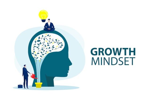 Empresario sosteniendo la bombilla para poner pensar en la mentalidad de crecimiento diferente concepto de mentalidad fija