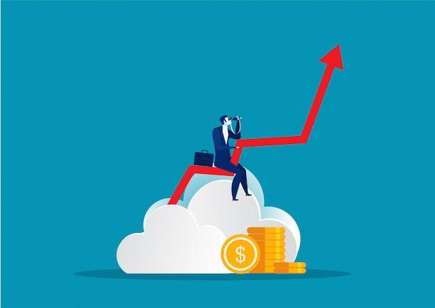 Empresario sosteniendo el catalejo en busca de oportunidades hasta la flecha de crecimiento hacia la ilustración de vector futuro en estilo plano