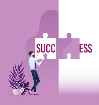 Empresario sosteniendo el éxito de la palabra dividida en dos piezas del rompecabezas