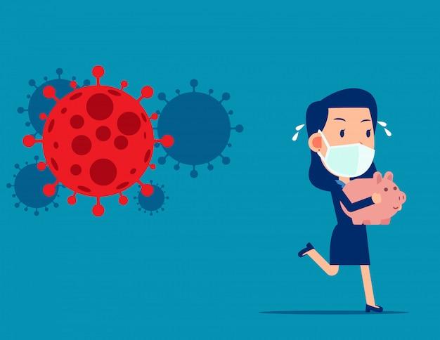 Empresario sosteniendo hucha huyendo por covid - 19. venta de pánico en el mercado de valores de patógeno coronavirus