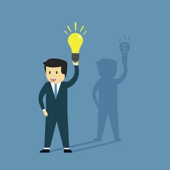 Empresario sosteniendo la lámpara y la sombra sosteniendo el dólar.
