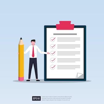 Empresario sosteniendo un lápiz con una lista de verificación gigante y una ilustración del portapapeles