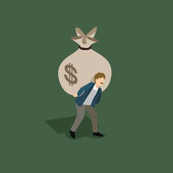 Empresario sosteniendo lastre de dinero