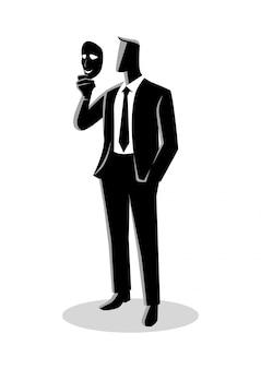 Empresario sosteniendo una máscara delante de su cara