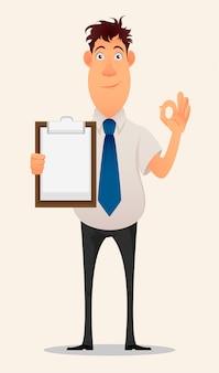 Empresario sosteniendo portapapeles en blanco y mostrando gesto ok