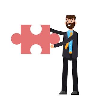Empresario sosteniendo rompecabezas. concepto de problema y solución.