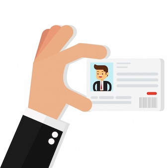 Empresario sosteniendo la tarjeta de identificación