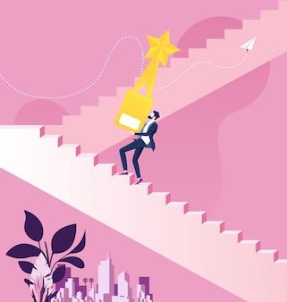 Empresario sosteniendo el trofeo de oro subiendo escaleras al éxito
