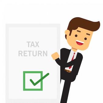 Empresario sostiene en su mano una declaración de impuestos.