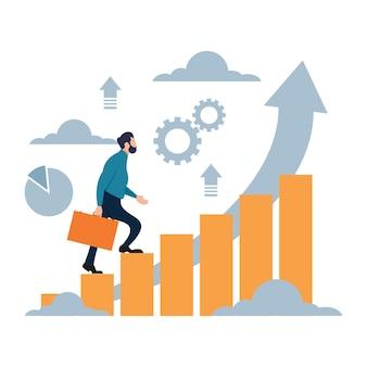 Empresario subiendo para lograr una meta exitosa