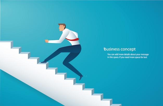 Empresario subir escaleras al éxito