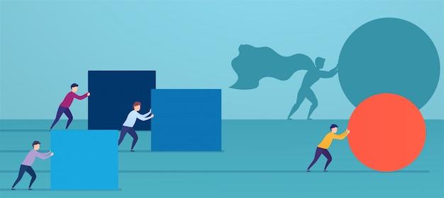 Empresario superhéroe empuja esfera roja, superando a los competidores.