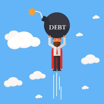Empresario superhéroe llevar bomba de la deuda