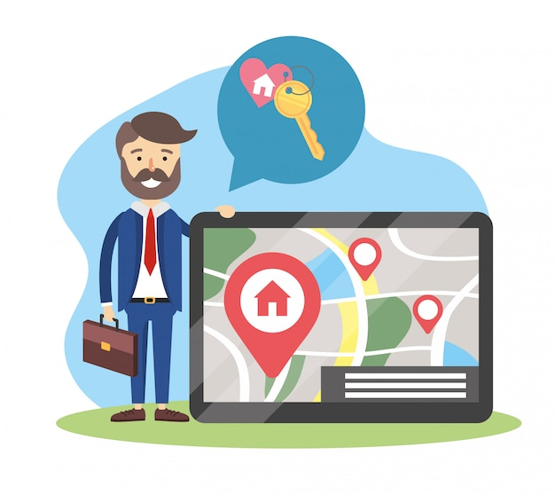 Empresario con tableta y ubicación de mapa a casa vendida