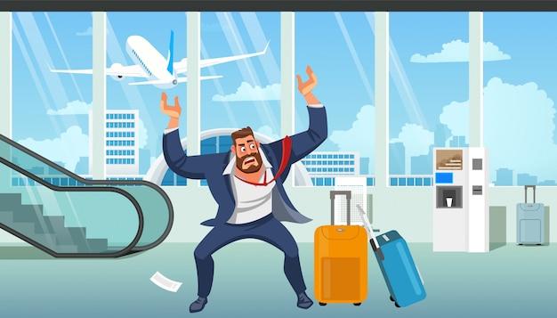 Empresario tarde en vector de dibujos animados de avión
