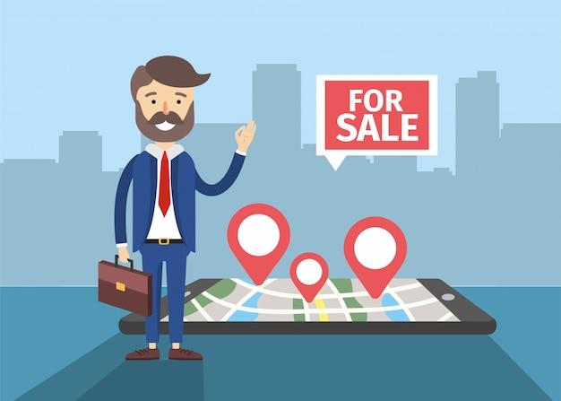 Empresario con teléfono inteligente para mapear ubicación de venta de casa