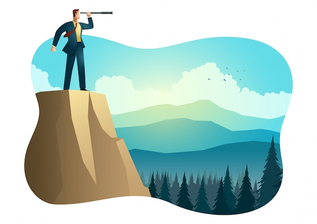 Empresario con telescopio en la cima de la montaña