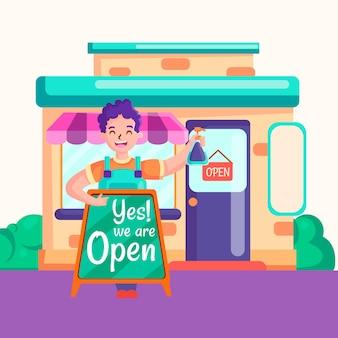 Empresario y tienda reabierta