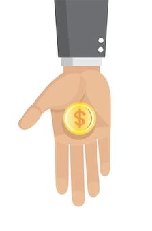 Empresario tiene en su mano una moneda de oro dólar