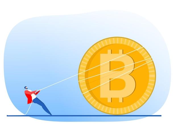 El empresario tira de la cuerda hacia arriba la flecha del concepto de crecimiento de bitcoin vector diseño plano ilustrador. Vector Premium
